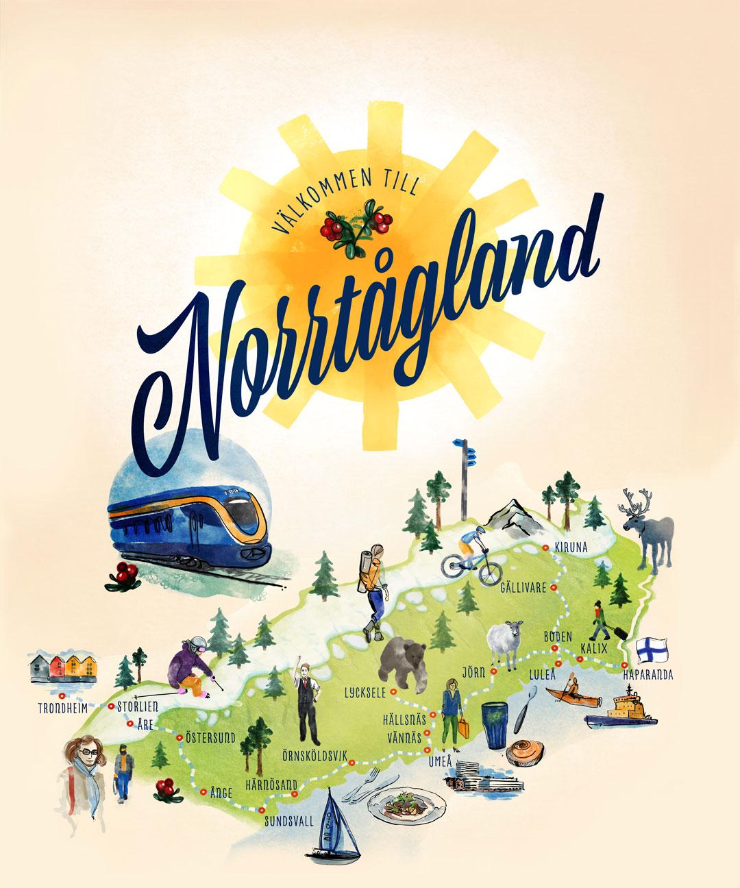 Karta över norrtågland